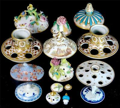 15 Antique English Porcelain Lids 18Th 19Th Century Vase Pot Pourri Georgian