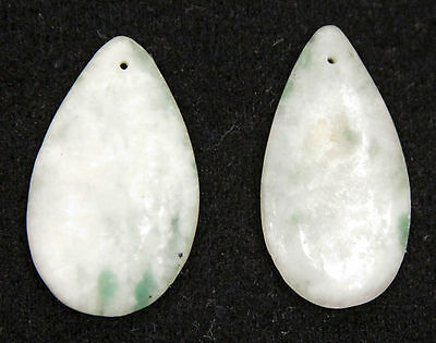 2 Antique Chinese Qing Carved Jadeite Drops Plaque Clothes Ornament Jade China