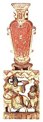 Antique Chinese Qing Carved Wood Panel Gold Gilt Man on Horse Vase Temple China