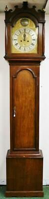 Antique 18thC English 8 Day Striking Oak, Brass Dial Longcase Grandfather Clock