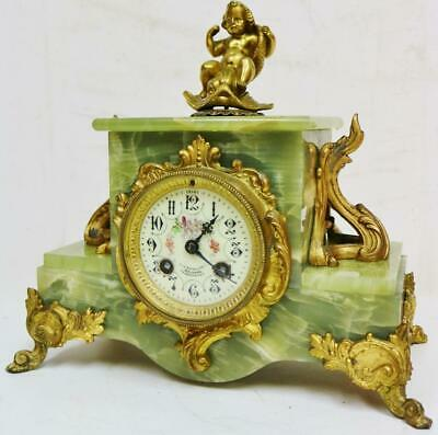 Antique French 8 Day Striking Gilt Metal & Green Onyx Cherub Figure mantel Clock