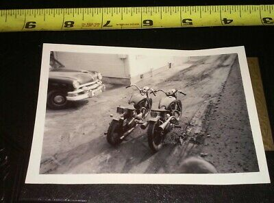 Vintage 1950s snapshot photo triumph motorcycle side by side