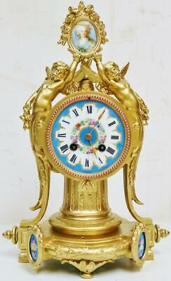 Antique French 8 Day Ornate Gilt Metal & Sevres Porcelain Striking Mantel Clock