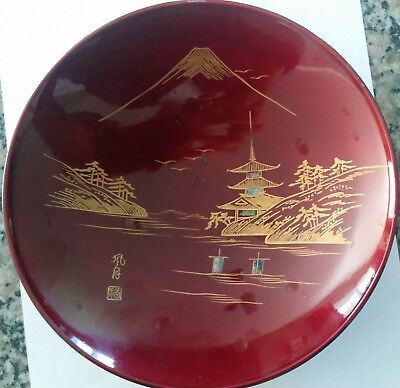 """Vintage Lacquer Bowl, """"A&C Japan"""". Mother of Pearl Inlay Red/Black/Gold 7.5"""" W"""