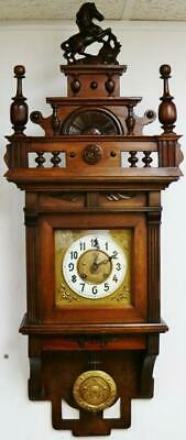 Antique German Kienzle Mahogany 8 Day Striking Vienna Free Swinger Wall Clock