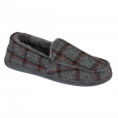 Mens New Hampshire Faux Suede Fur Lined Moccasin Slippers Shoes Size 7-12