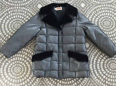 Vintage Comfy Coat Winter Jacket Puffer Gray Quilted Faux  Fur Women's M 1970s