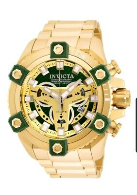 New Invicta Grand Octane Coalition Forces Gold Plated Steel Swiss Mvt Green 63mm