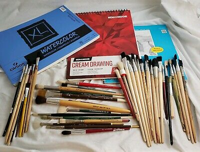 42 Vintage Art Brushes Watercolor Paper, Paint Brushes Supplies M Grumbacher