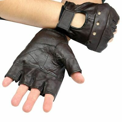 Perrini Workout Brown Leather Finger less Gloves Exercise Fitness  Lifting Large