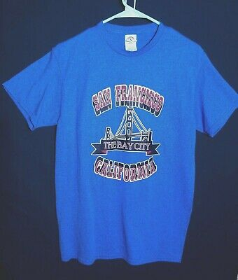 Vintage Medium San Francisco The Bay City Souvenir T-Shirt 50/50 Tourist Blue M