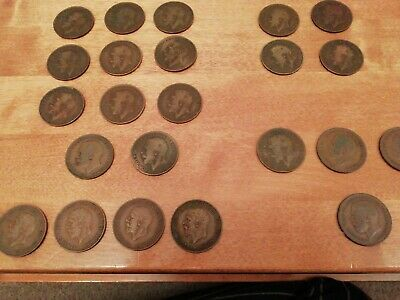 Collection Of George V Heaton/KN Pennies (24)