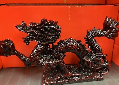 "Chinese Feng Shui Red Resin Dragon Figurine Statue for Luck & Success 8"" LONG"
