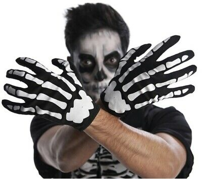 Skeleton Gloves 💀 Unisex Adult One Size Day Of The Dead Halloween Male Female