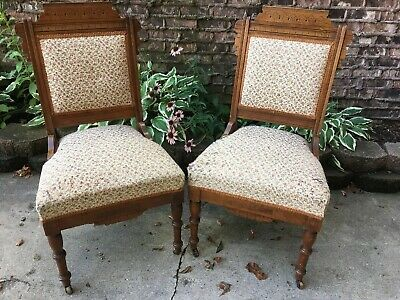 Pair Of Eastlake Victorian Wooden Carved Floral Upholstered Chairs On Casters