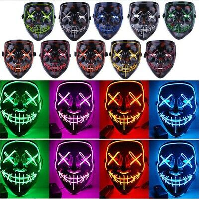 """Light Up Masks """"Stitches"""" LED Costume Mask Halloween Rave Cosplay The Purge Red"""