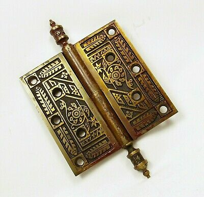 Antique Door Hinge with Finials Solid Brass Art Nouveau Salvage