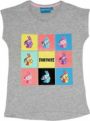 Fortnite Girls Teenagers Llama Glitter Print Short Sleeve T Shirt