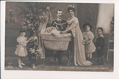 Vintage Postcard King Victor Emmanuel III & Queen Elena of Italy & Family