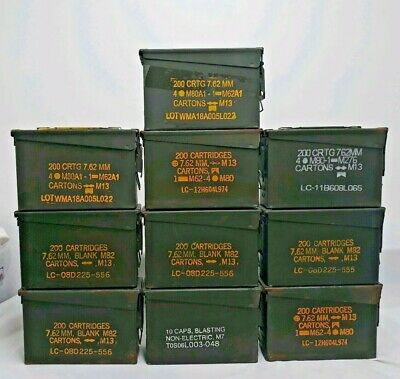 """10 AMMO CAN 13 M19A1 7.62 MM M13 200 CARTRIDGES MEASURES 10.5x7x4"""" W/ FREE GIFT"""
