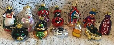 LOT of 12 BLOWN GLASS HALLOWEEN ORNAMENTS GHOST CANDY CORN WITCH BAT SPIDER ETC!