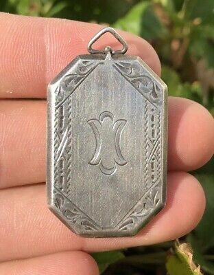 Antique Victorian Art Deco Sterling Silver Aesthetic Etched Floral Large Locket