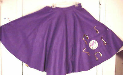 "Purple FELT Poodle Skirt /_ Adult Size XL-3XL /_ Waist 40/"" 48/"" /_ Length 25/"""