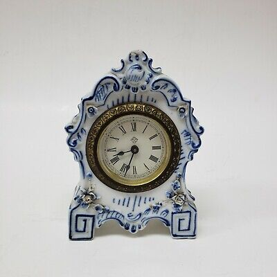 "Antique Ansonia Mantle Clock with Porcelain Case as-is for parts broken 6"" tall"