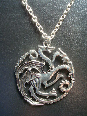 New *GAME of THRONES Necklace* DRAGONS House TARGARYEN Sigil Pendant w/Chain (A)