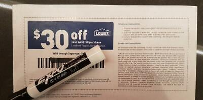 One Lowes $30 Off $50 in-STORE ONLY | 1Coupon Guaranteed delivery | Exp 09/30/19