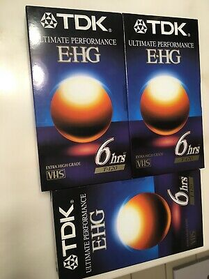 (3x) TDK Ultimate Performance E-HG T-120 6 hour VHS Tapes Brand New Sealed