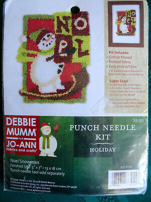 Debbie Mumm Holiday Punch Needle Kit Noel Snowman Kit NEW