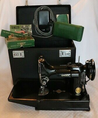SINGER 221 Class Featherweight Sewing Machine w/Pedal, Case, Attachments 1 OWNER