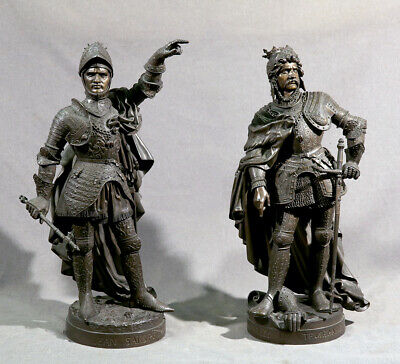 19th Century Pair of Military Bronze Knight in Armor Boyer and Robinet