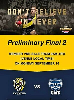 Richmond Tigers vs. Geelong Cats Preliminary Final - Ticket x 1 - Friday 20/9