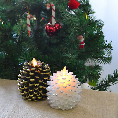 2PCS Luminara Battery Operated Wax Pine Cone Led Candles Flameless for Home