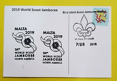 24th world scout jamboree 2019  Postmark on USPS official postcard and MALTA