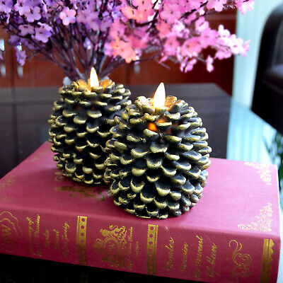 Luminara Flickering Pine Cone Style Led Candle for Birthday Unscented Real Wax