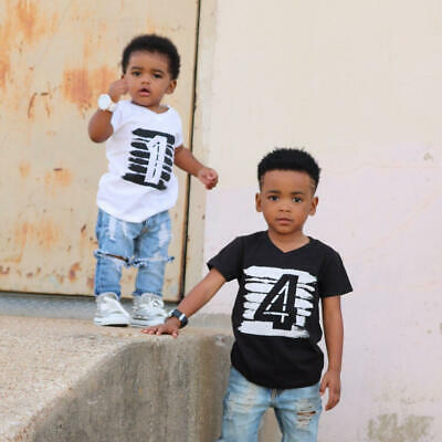 Baby Boys Shirts White Black Tees Clothes Children Tops T-shirt 1 2 3 4 Years