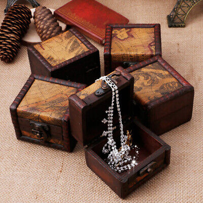 SN_ BL_ Antique Vintage Style Old World Map Wooden Jewelry Storage Trunk / Box
