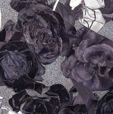 Millinery Assorted Black Flowers Silk And Polyester  Roses