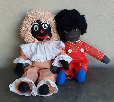 Pair of Vintage Black Cloth Golli Rag Dolls Golliwogs