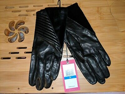 NEW Vince Camuto Leather And Calf Hair Gloves, Black, XL