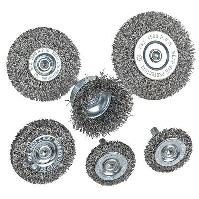 6Piece Wire Wheel Cup Brush Set 0.0118In Coarse Crimped Steel 1/4In Round S P8L8