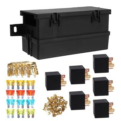 Auto Car Part 6-Way 6 Relays with Relay Box 12 Blade Fuses Waterproof for C P1O6