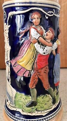 German Beer Stein hand painted and finely glazed earthenware, pewter hinged lid.