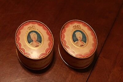 TWO Vtg Face Powder Vanity Box Du Barry Richard Hudnut NY Paris Art Deco Peach
