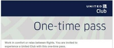 TWO (2) United Club One-Time Passes Exp. Aug 28, 2020