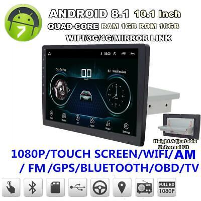"""Android 8.1 1Din 10"""" Car Stereo Radio GPS Navigation WiFi BT DAB Mirror Link OBD"""