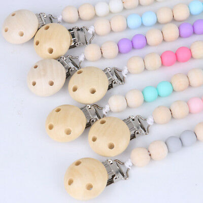 Baby Dummy Infants Pacifier Soother Nipple Shield Wood Chain Clips Holder Gifts